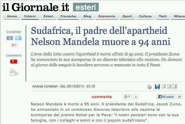 Mandela, il padre dell'apartheid